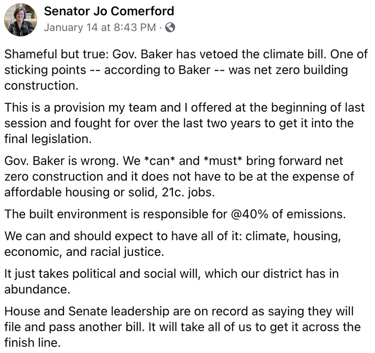 Governor Baker, sign the climate bill. Contact him by Feb. 7th